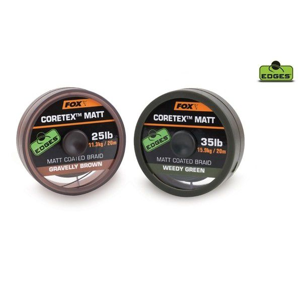FOX Edges Coretex Matt Coated Braid Line Weedy Green pintas valas pavadėliams (9.0 kg / 20 lb, 20 m)