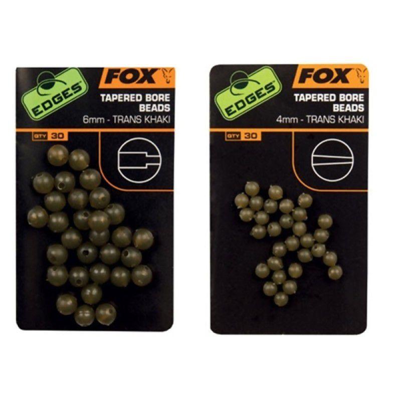FOX Edges Trans Khaki Tapered Bore Beads karoliukai (6 mm, 30 vnt.)