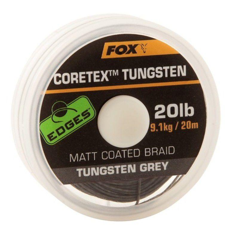 FOX Edges Coretex Tungsten Matt Coated Braid Hooklink Line pintas valas pavadėliams (9.07 kg / 20 lb, 20 m)