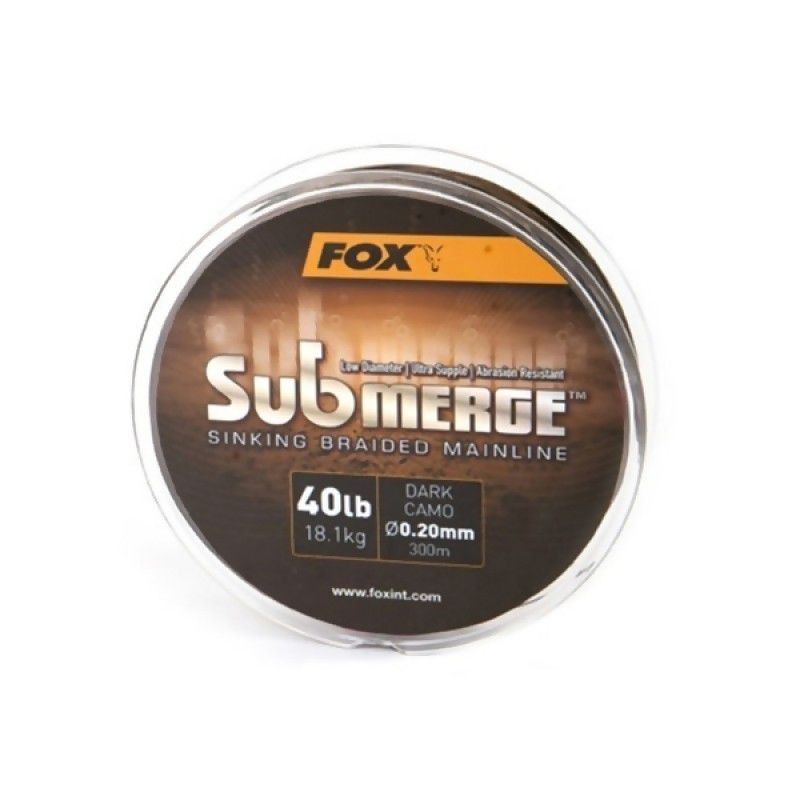 FOX Submerge Sinking Braid Mainline Dark Camo pintas valas (11.3 kg / 25 lb, 0.16 mm, 300 m)