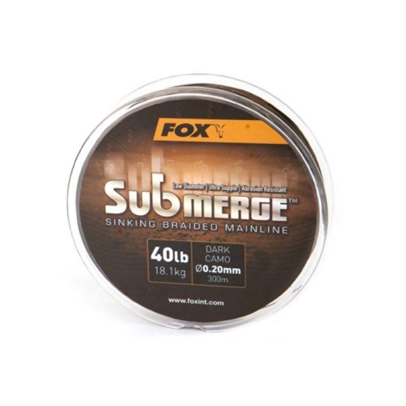 FOX Submerge Sinking Braid Mainline Dark Camo pintas valas (11.3 kg / 25 lb, 0.16 mm, 600 m)