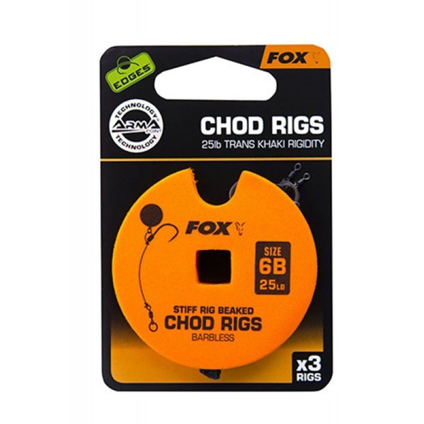 FOX Edges Chod Standart Barbless Rigs karpiniai pavadėliai (11.3 kg / 25 lb, 8 dydis, be užkarpėlės, 3 vnt.)