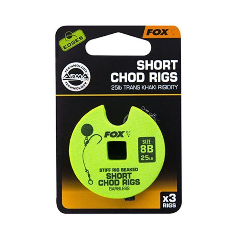 FOX Edges Chod Short Rigs karpiniai pavadėliai (13.6 kg / 30 lb, 4 dydis, 3 vnt.)