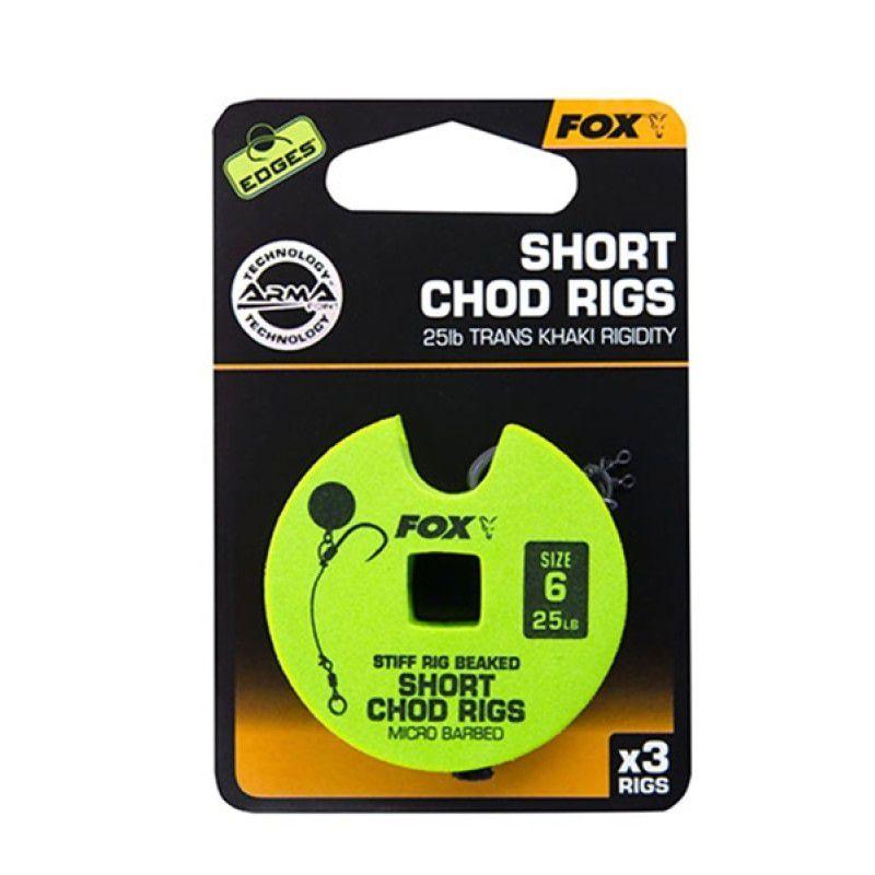 FOX Edges Chod Short Rigs karpiniai pavadėliai (13.6 kg / 30 lb, 5 dydis, 3 vnt.)
