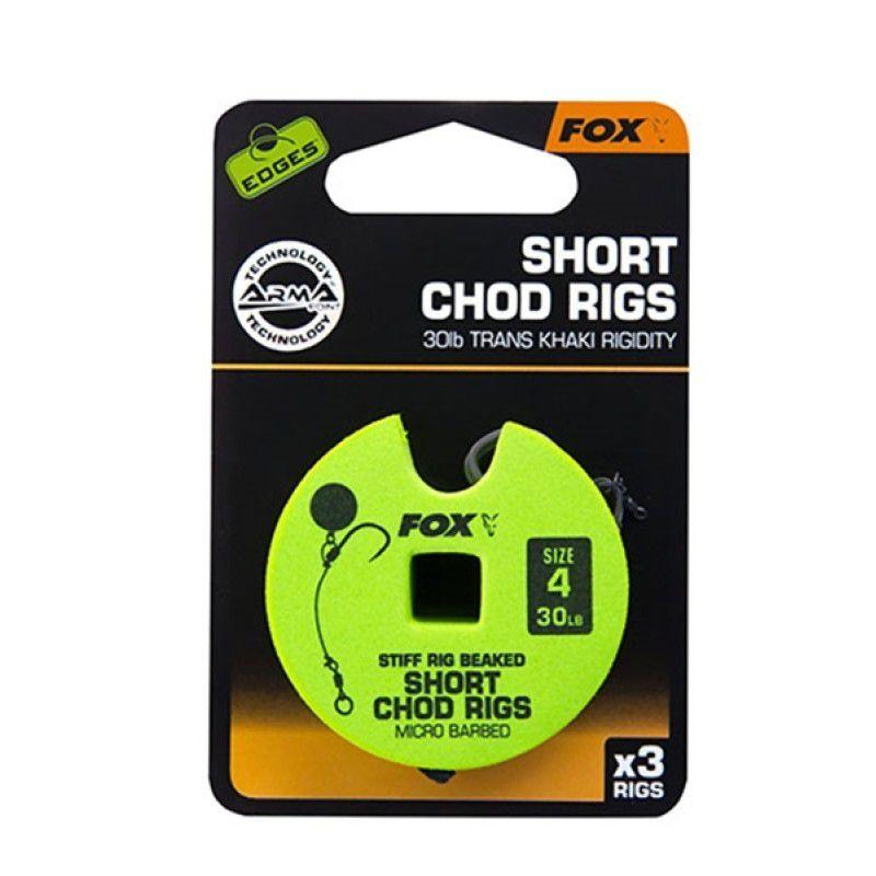 FOX Edges Chod Short Rigs karpiniai pavadėliai (11.3 kg / 25 lb, 6 dydis, 3 vnt.)