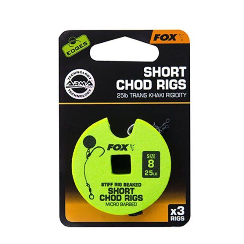 FOX Edges Chod Short Rigs karpiniai pavadėliai (11.3 kg / 25 lb, 8 dydis, 3 vnt.)