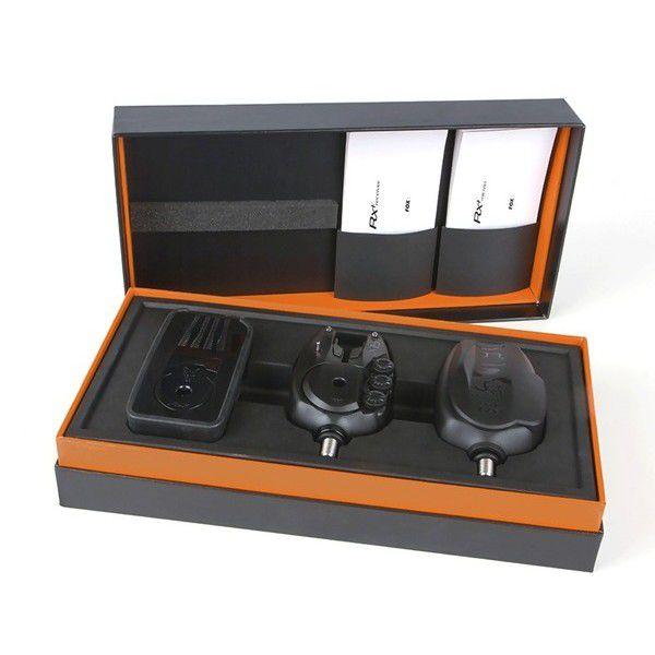 FOX RX+ Bite Alarm 2 Rods Presentation Set signalizatorių komplektas (2 vnt. + imtuvas, dėžutė)