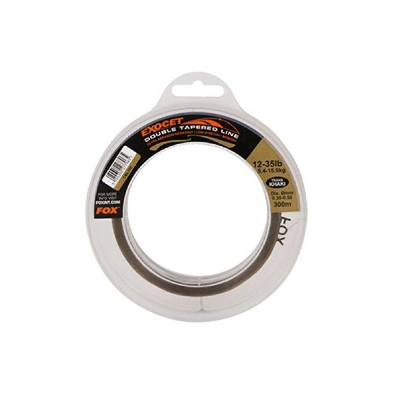 FOX Exocet Double Tapered Line Trans Khaki monofilamentinis kūginis vedantis valas (0.50-0.33-0.50 mm, 35-15-35 lb, 300 m)