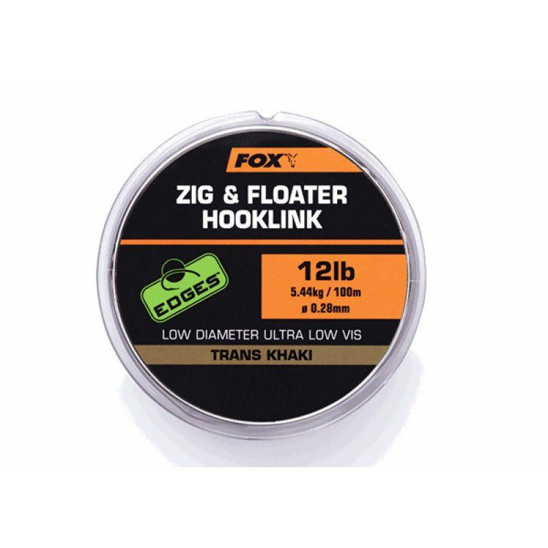 FOX Edges Zig & Floater Hooklink Line monofilamentinis valas (0.28 mm, 5.6 kg / 12 lb, 100 m)