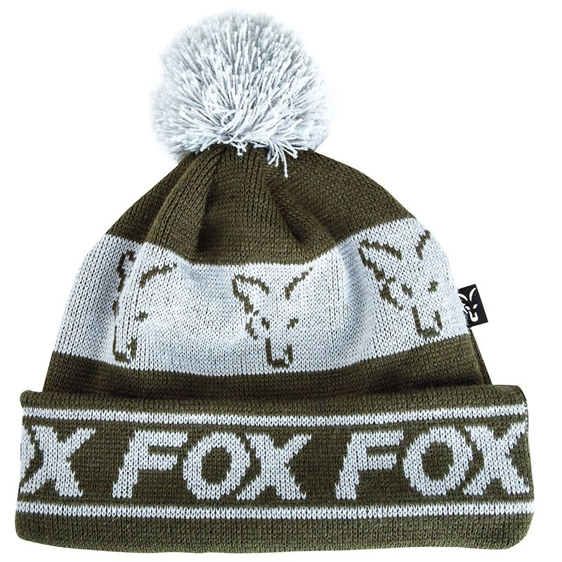 FOX Green & Silver Lined Bobble Hat kepurė