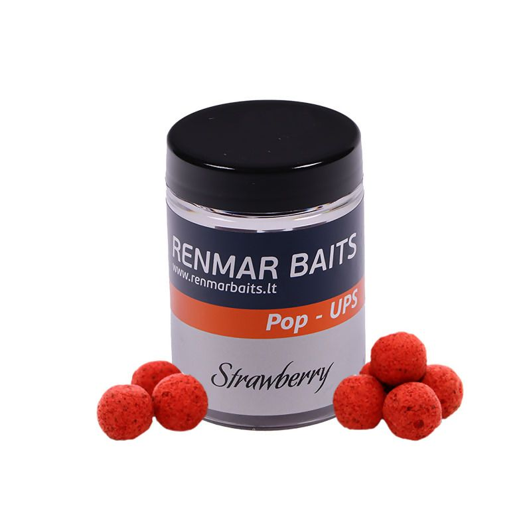 RENMAR BAITS Strawberry Pop Up Boilies plaukiantys masaliniai boiliai (10 mm, 50 vnt.)