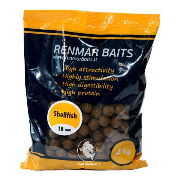 RENMAR BAITS Feed Boilies pašariniai boiliai (Shellfish, 18 mm, 1 kg)