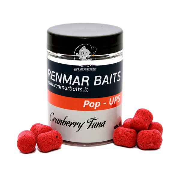 RENMAR BAITS Popups plaukiantys boiliai (Cranberry Tuna, 12x16 mm, 40 vnt.)