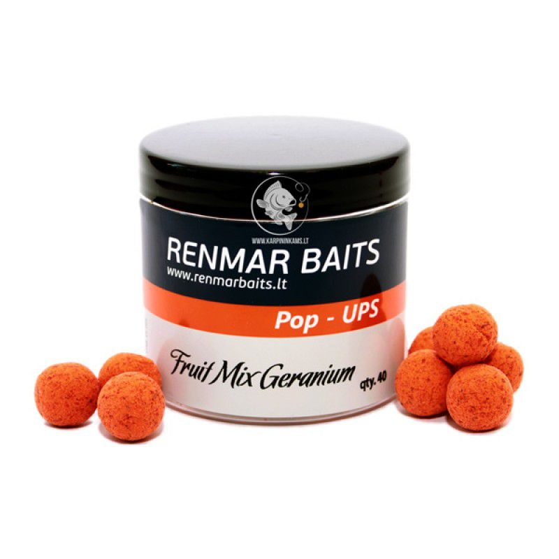 RENMAR BAITS Fruit Mix Geranium Pop Up Boilies plaukiantys masaliniai boiliai (16 mm, 40 vnt.)