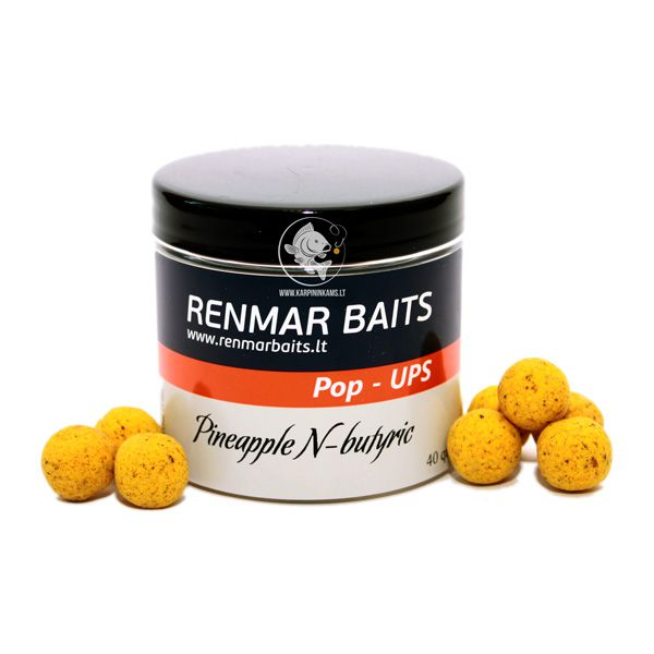 RENMAR BAITS Popups plaukiantys boiliai (Pineapple N Butyric, 16 mm, 40 vnt.)
