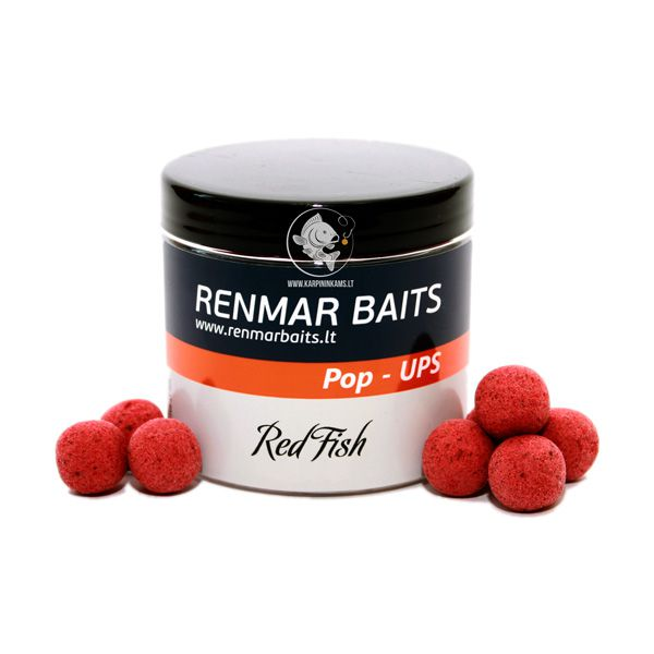 RENMAR BAITS Popups plaukiantys boiliai (Red Fish, 16 mm, 40 vnt.)