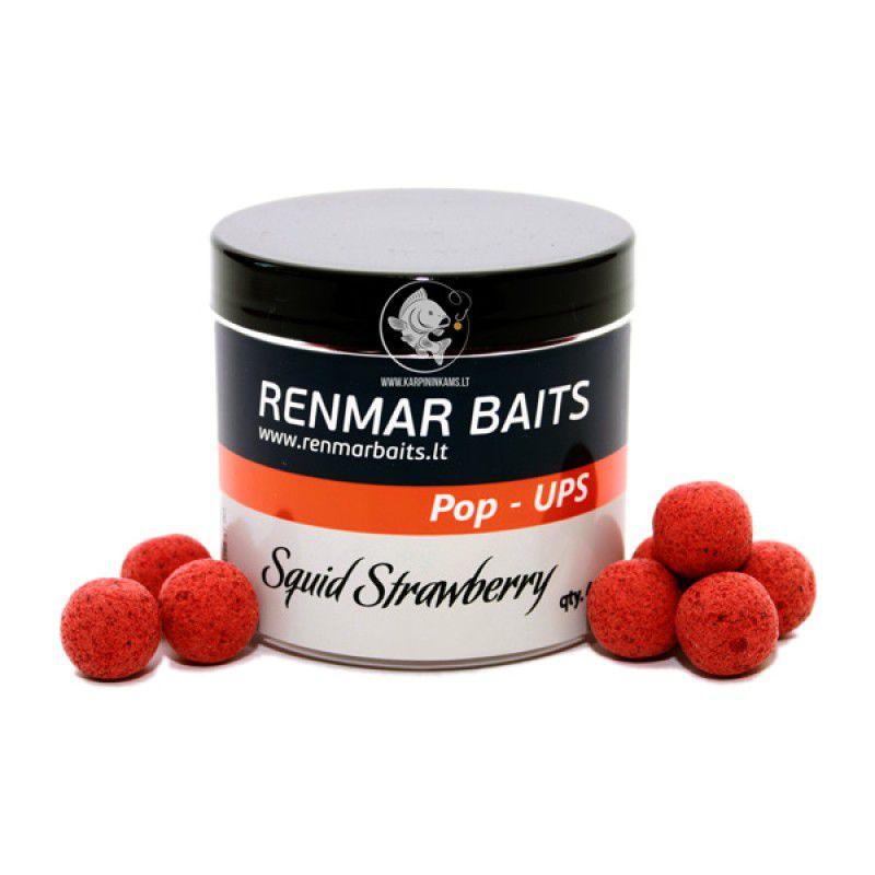 RENMAR BAITS Squid Strawberry Pop Up Boilies plaukiantys masaliniai boiliai (16 mm, 40 vnt.)