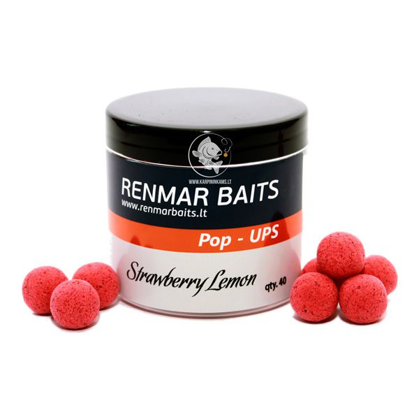 RENMAR BAITS Popups plaukiantys boiliai (Strawberry Lemon, 16 mm, 40 vnt.)